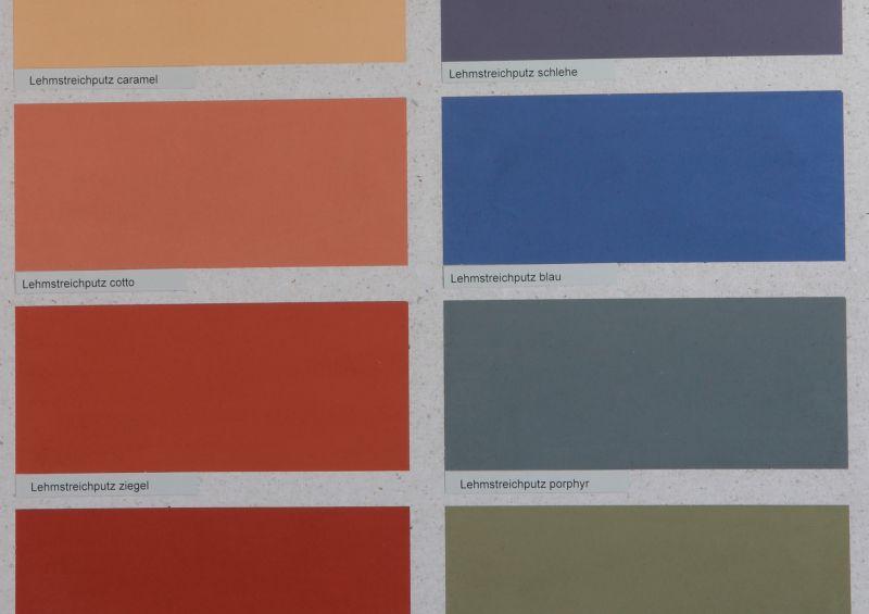 Die Vega Lehmfarbe und den Vega Lehmstreichputz gibt es in 12 Vollfarbtönen